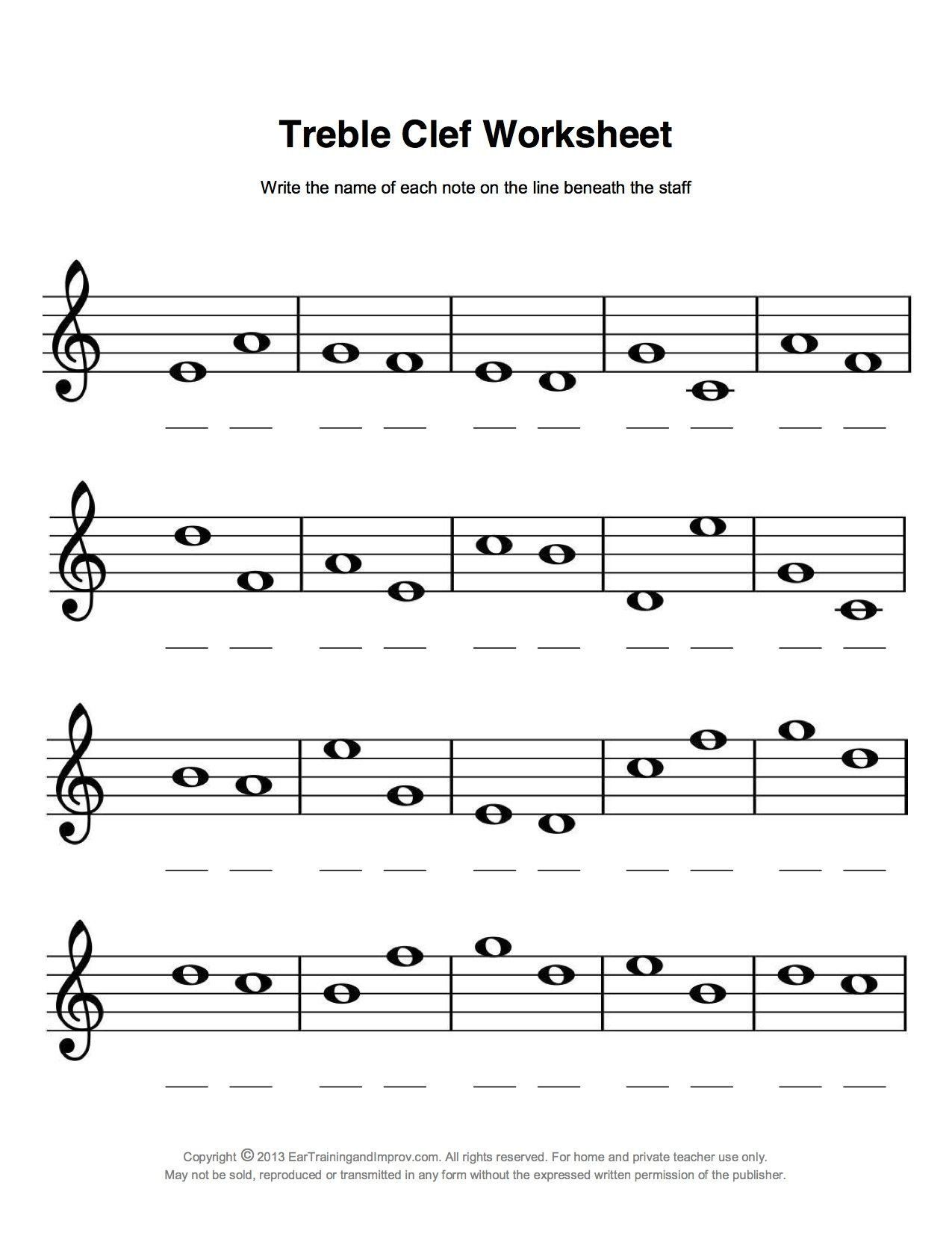 Treble Clef Notes Worksheet Easy Fun Music Theory In
