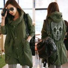 Womens Skull Back Military Coat Long Parkas Autumn Button Trench Hooded Jacket