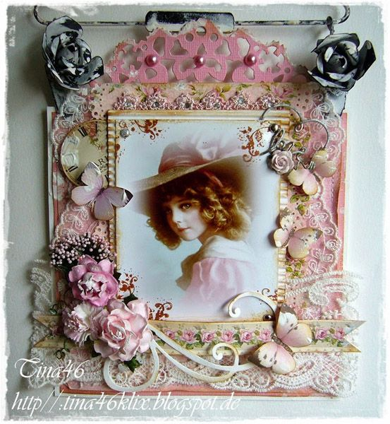 Vintage Card by LLC DT Member Tina Klix, using papers from Pion Design's My precious Daughter collection.
