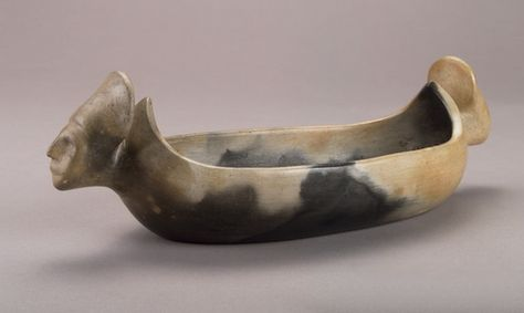 Nola Campbell Catawba 1918 2009 Bowl With Human Effigy Finials 1960   X 10 Cm Donated To The Indian Arts And Crafts Board By The