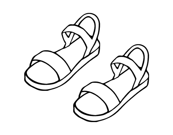 Sandals Coloring Pages Coloring Pages Drawing Clothes Color