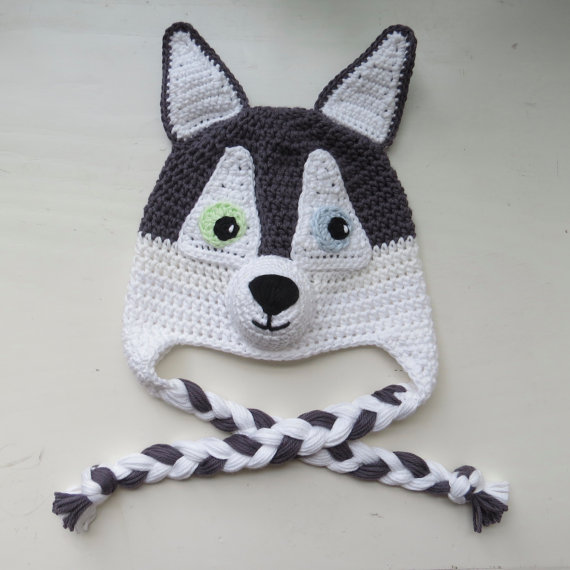 Husky Dog Hat, Handmade Crochet Husky Character Hat, Crochet Dog Hat ...
