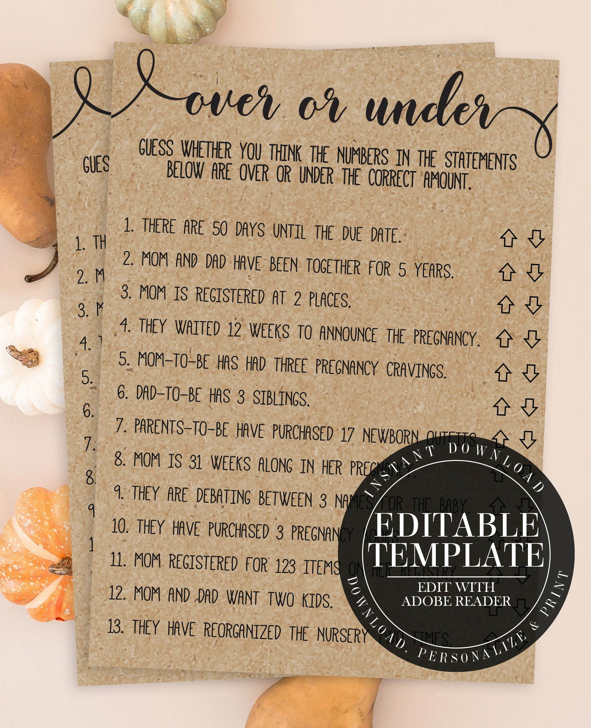 83cc9efd0bada Over or Under Baby Shower Game, Coed Baby Shower Game, Rustic Baby ...