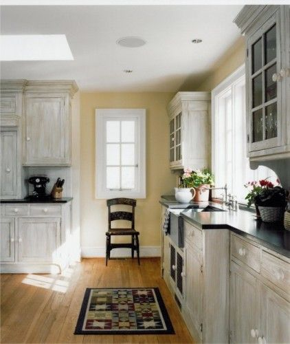 Whitewash cabinets - yellow walls | Kitchen design, Pine ...