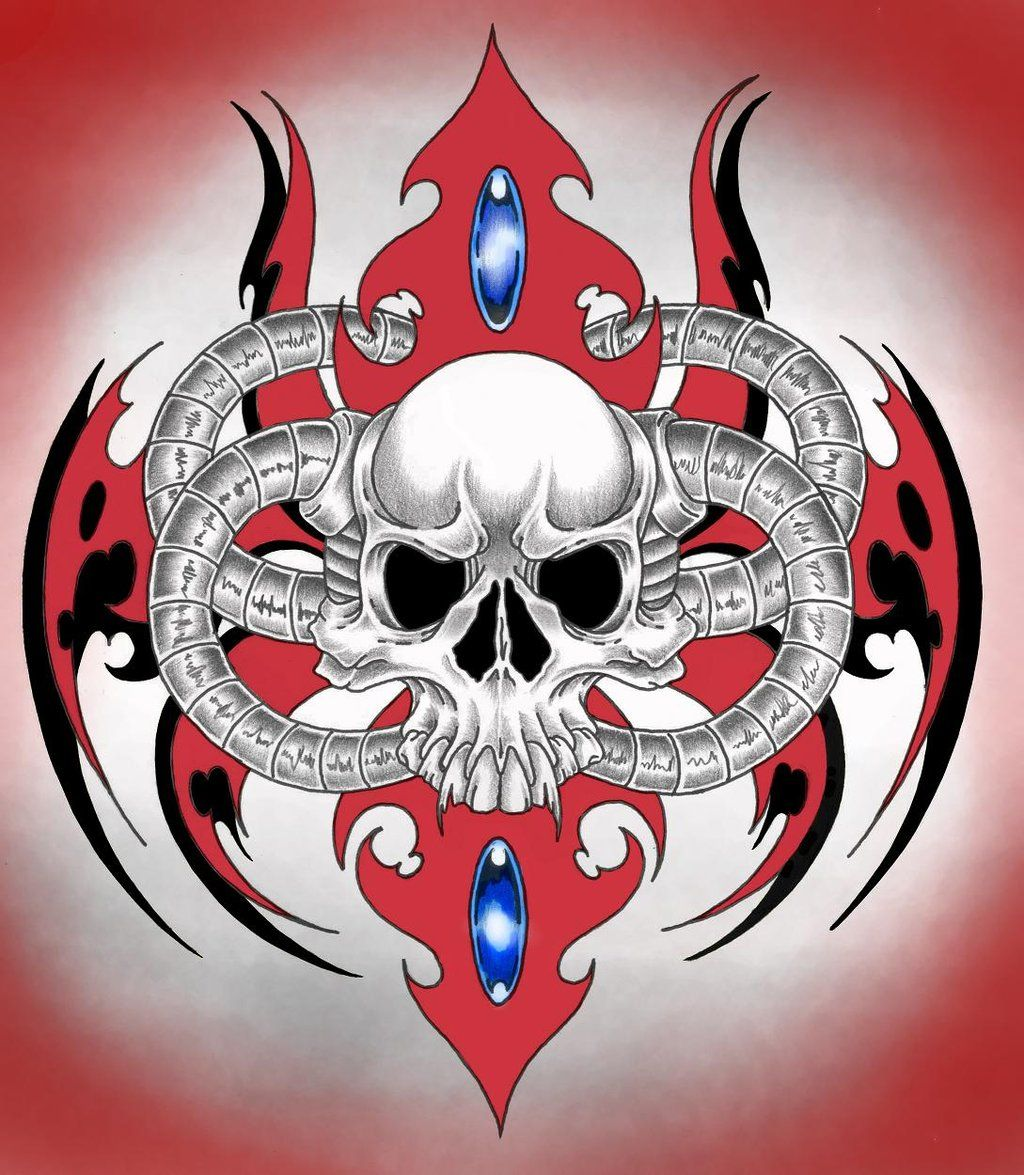 Skull Tribal Colored By Needles000