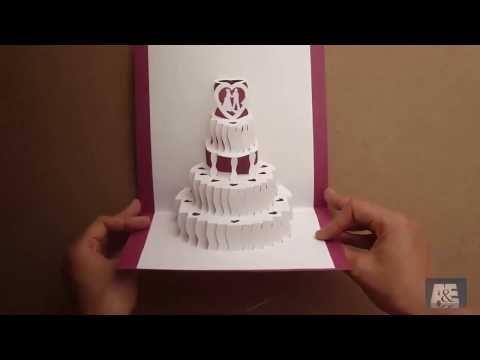 How To Make A Amazing Wedding Cake Pop Up Card Tutorial Free Template Pop Up Card Templates Wedding Card Templates Wedding Cake Cards
