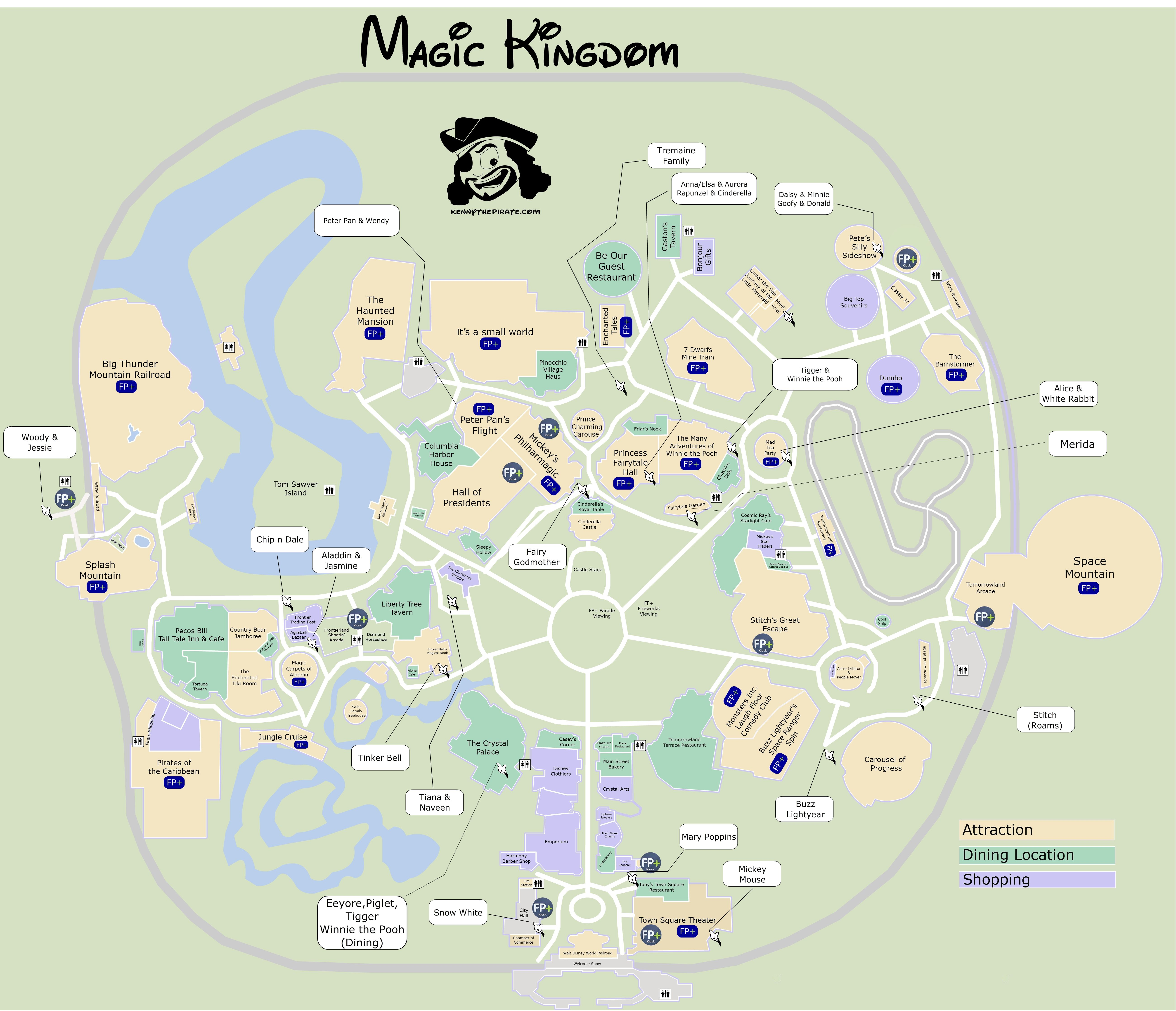 Mk map with character locations disney pinterest vacation magic kingdom map with character locations sciox Gallery