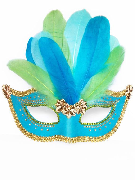 Carnival Green Blue Sequins /& Feathers Masquerade Mask Adult Costume Accessory