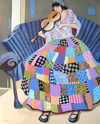 Contemporary figure painting of a woman with a violin Play It Again, painting by artist Carolee Clark