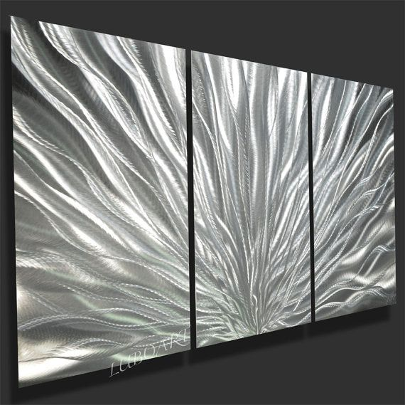 Abstract Metal art Wall sculpture Decor colour light reflect bright brilliant Contemporary 3D effect unique silver Original hand made - Lubo
