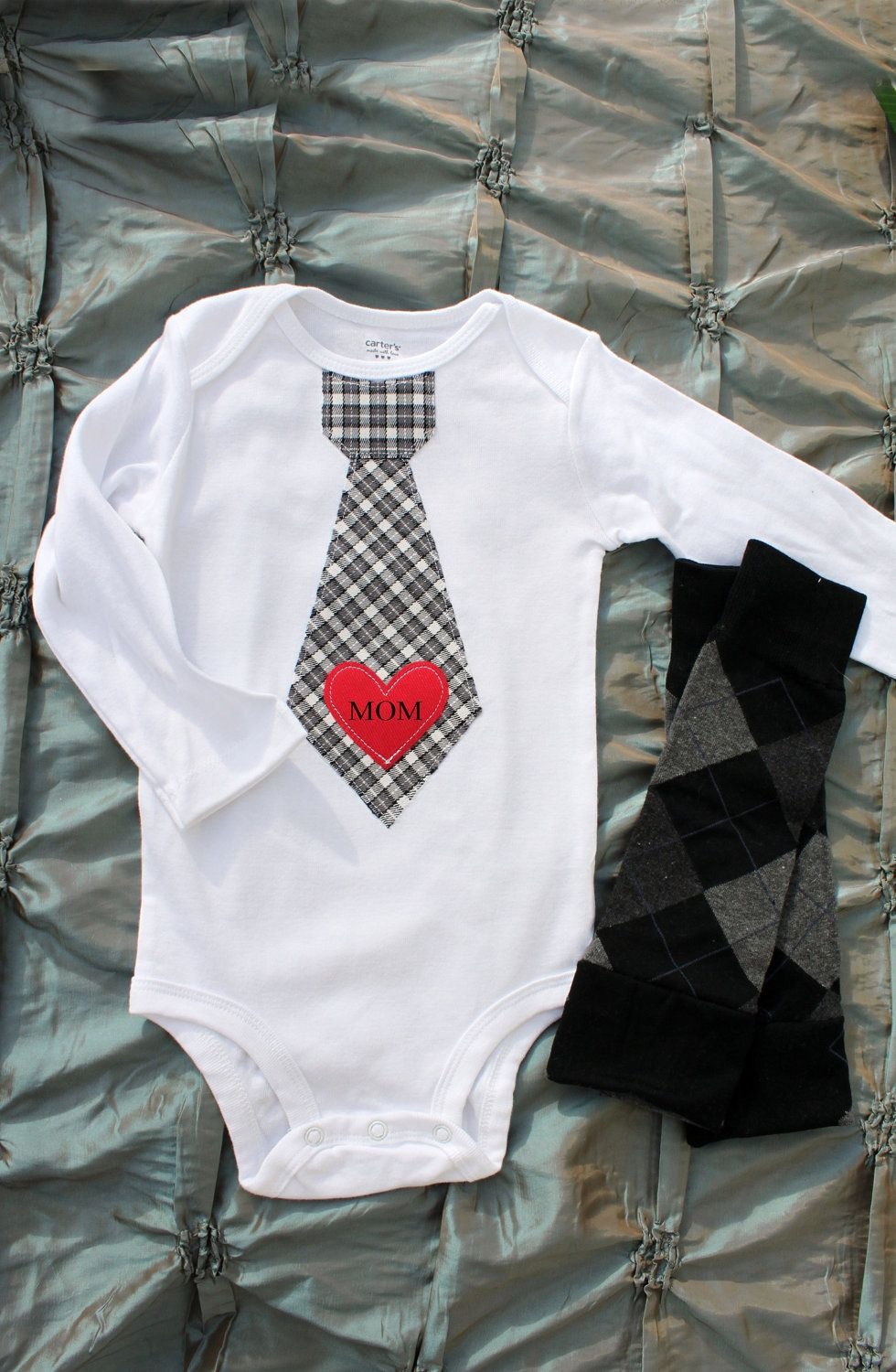 """A """"MOM"""" Tattoo Like Baby Boy's Red Heart Appliqued on Any"""