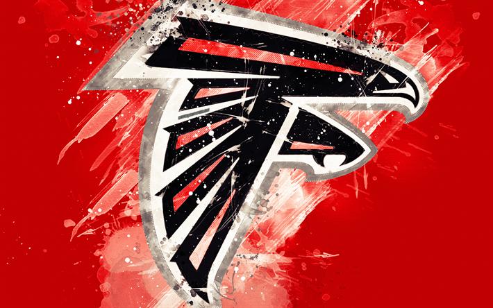 Download wallpapers Atlanta Falcons, 4k, logo, grunge art