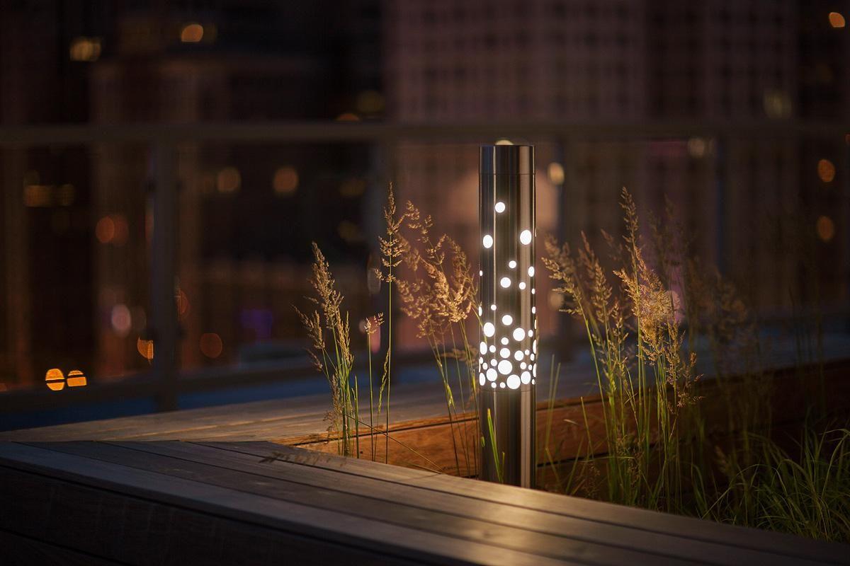 outdoor lighting light column bollard shown in stainless steel
