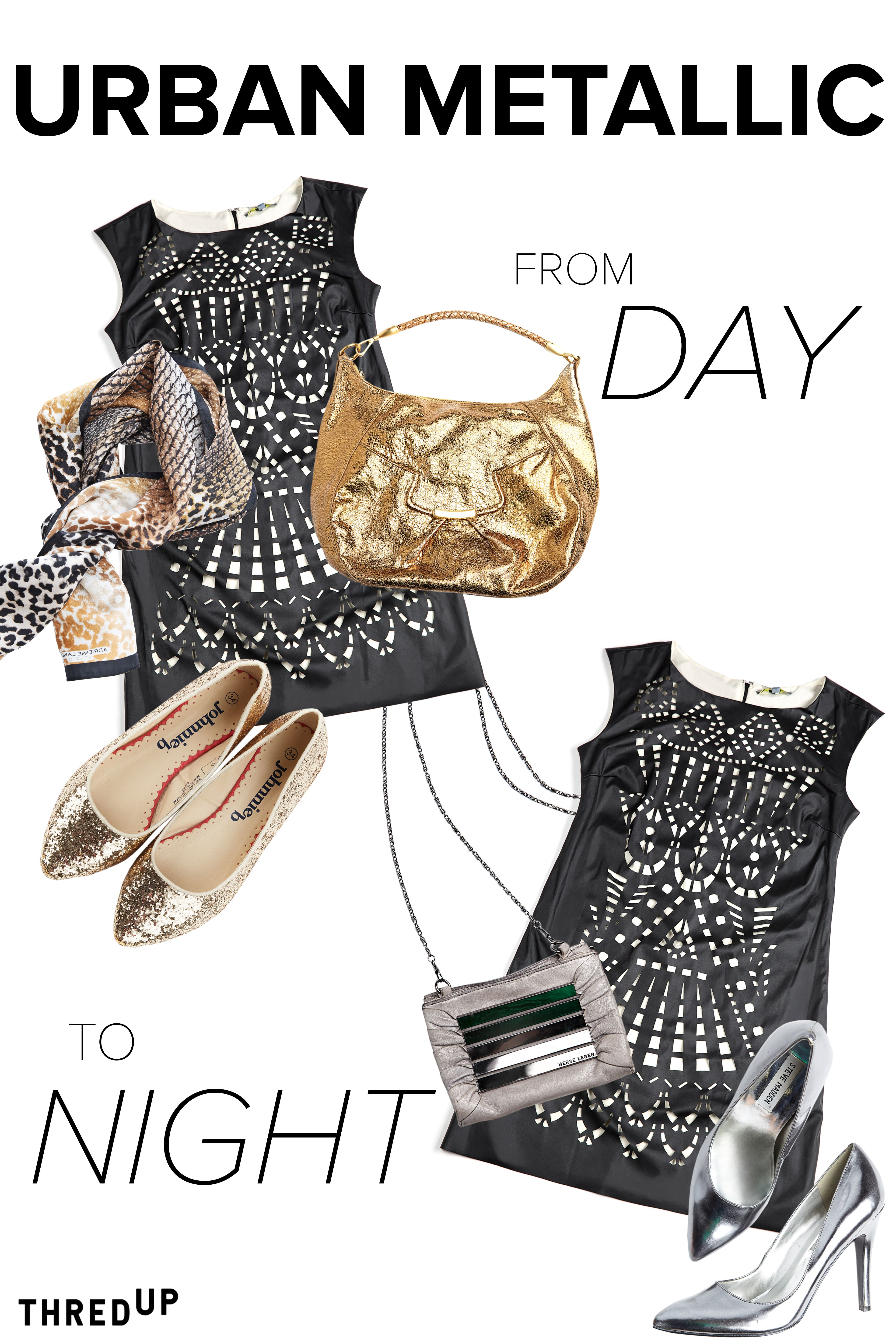 Take your look from day to night, featuring Urban Metallic