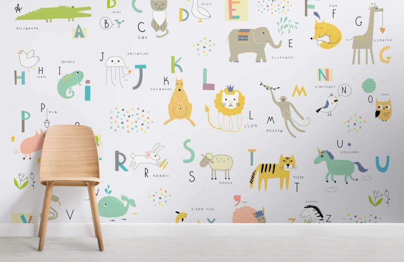 Kids Alphabet Wallpaper Alphabet Letters Style Muralswallpaper Kids Wallpaper Boys Room Mural Alphabet Wallpaper
