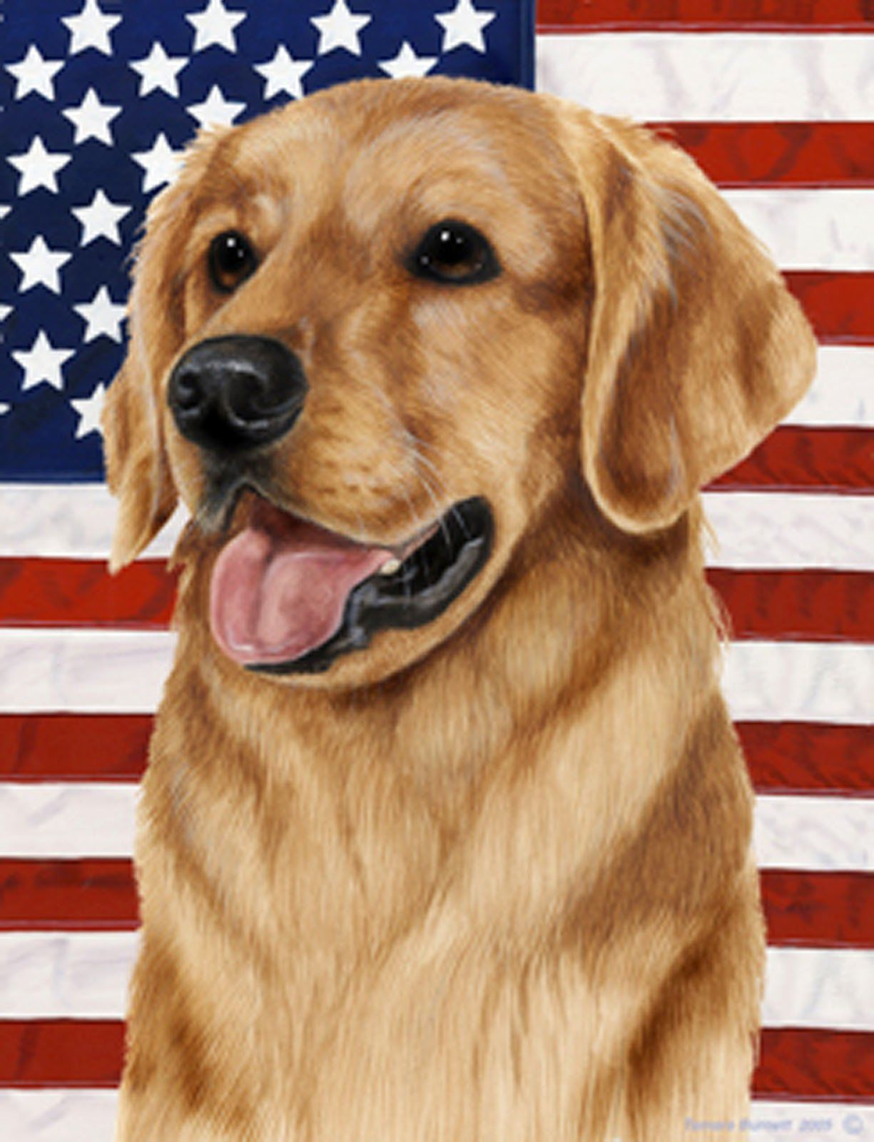 Best Of Breed Garden Flag Golden Retriever Patriotic By Tamara