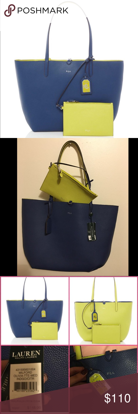 9da0f4f7908 ON HOLD BNWT Ralph Lauren reversible tote Brand new with tag! Genuine leather  Lauren Ralph Lauren Milford Reversible Blue Yellow Tote With Pouch.