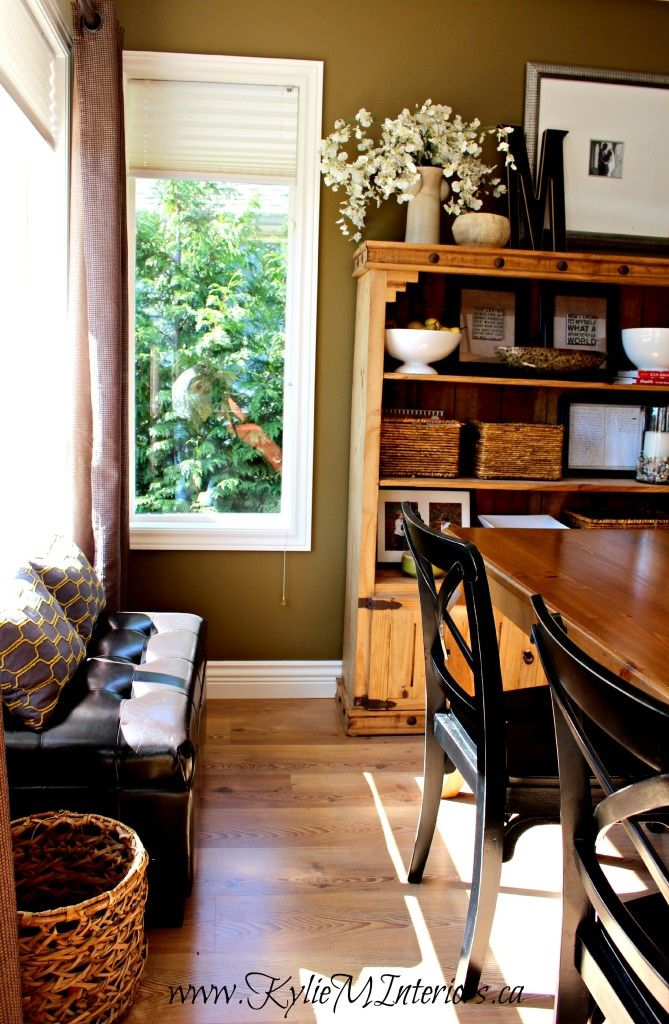 Sherwin williams mossy gold rustic farmhouse dining room for Rustic paint colors from sherwin williams