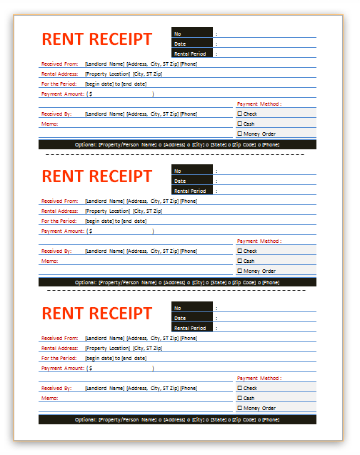 here is a professional rent receipt template business templates