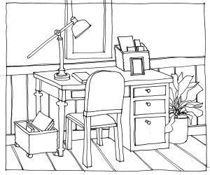 Line Drawing Desk And Chair