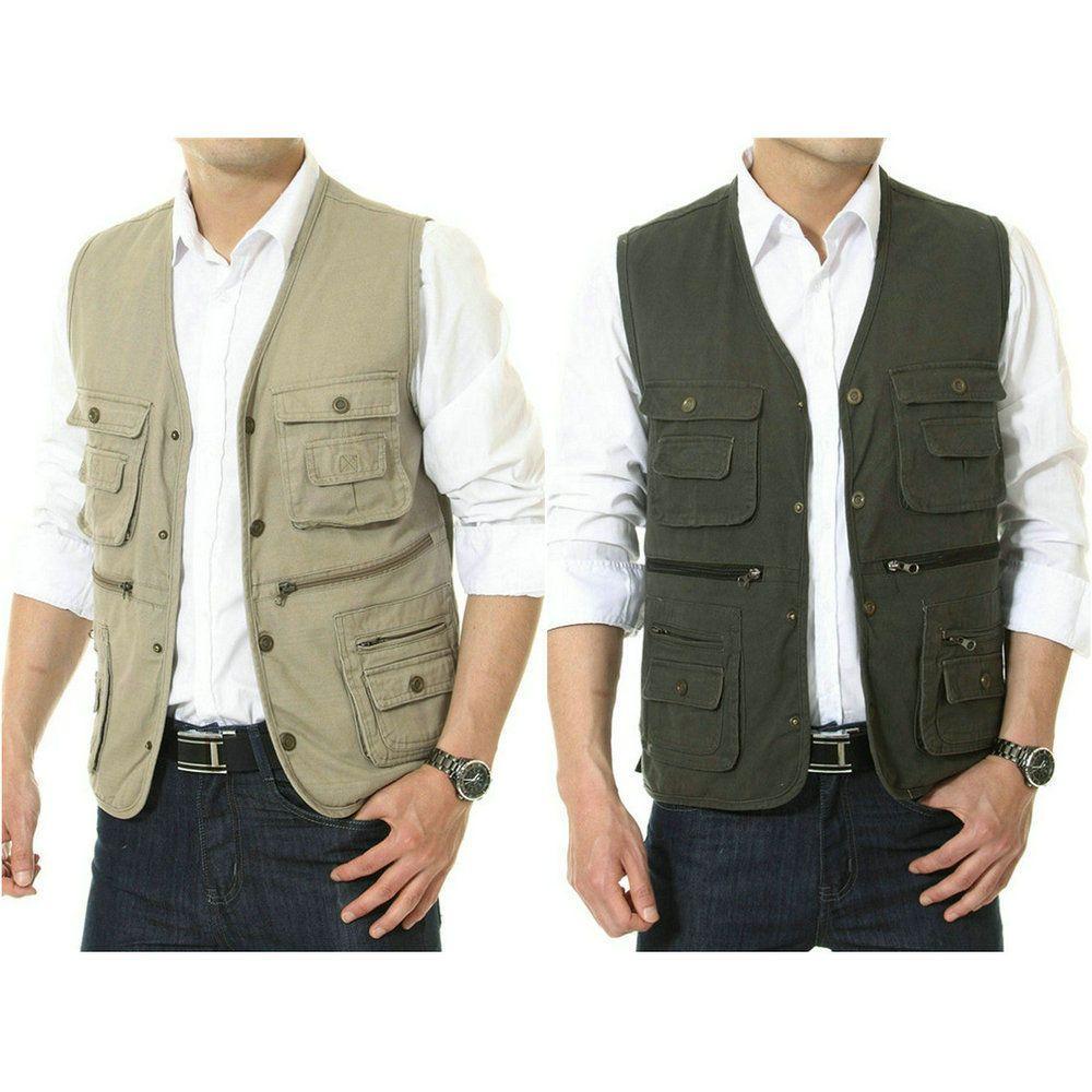 Mens Multi Pocket Vest Safari Journalist Cargo Travel