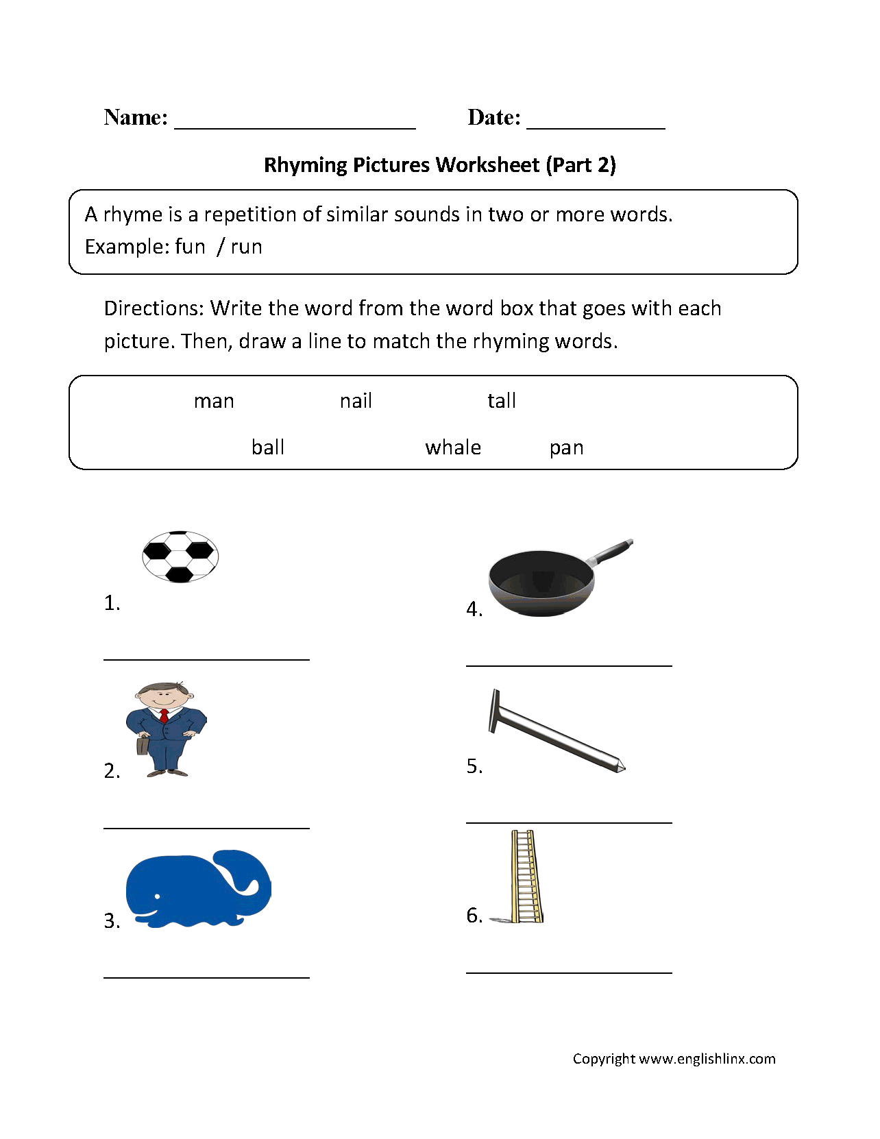 Rhyming Pictures Worksheets Part 2