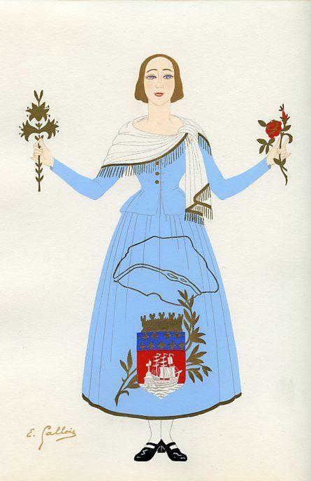L Ile De France Folk Costume Fashion Illustration Et Costume