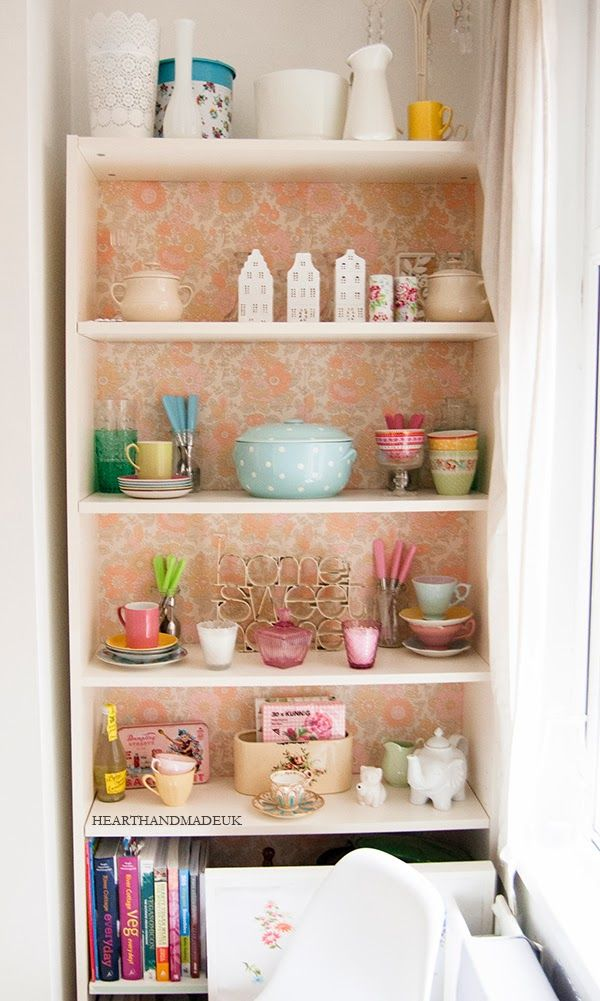 Vintage Wallpaper Backed Ikea Billy Cabinet This Is Such A Great Idea For Making A Cheap Basic Bookcase Into A Feature Piece