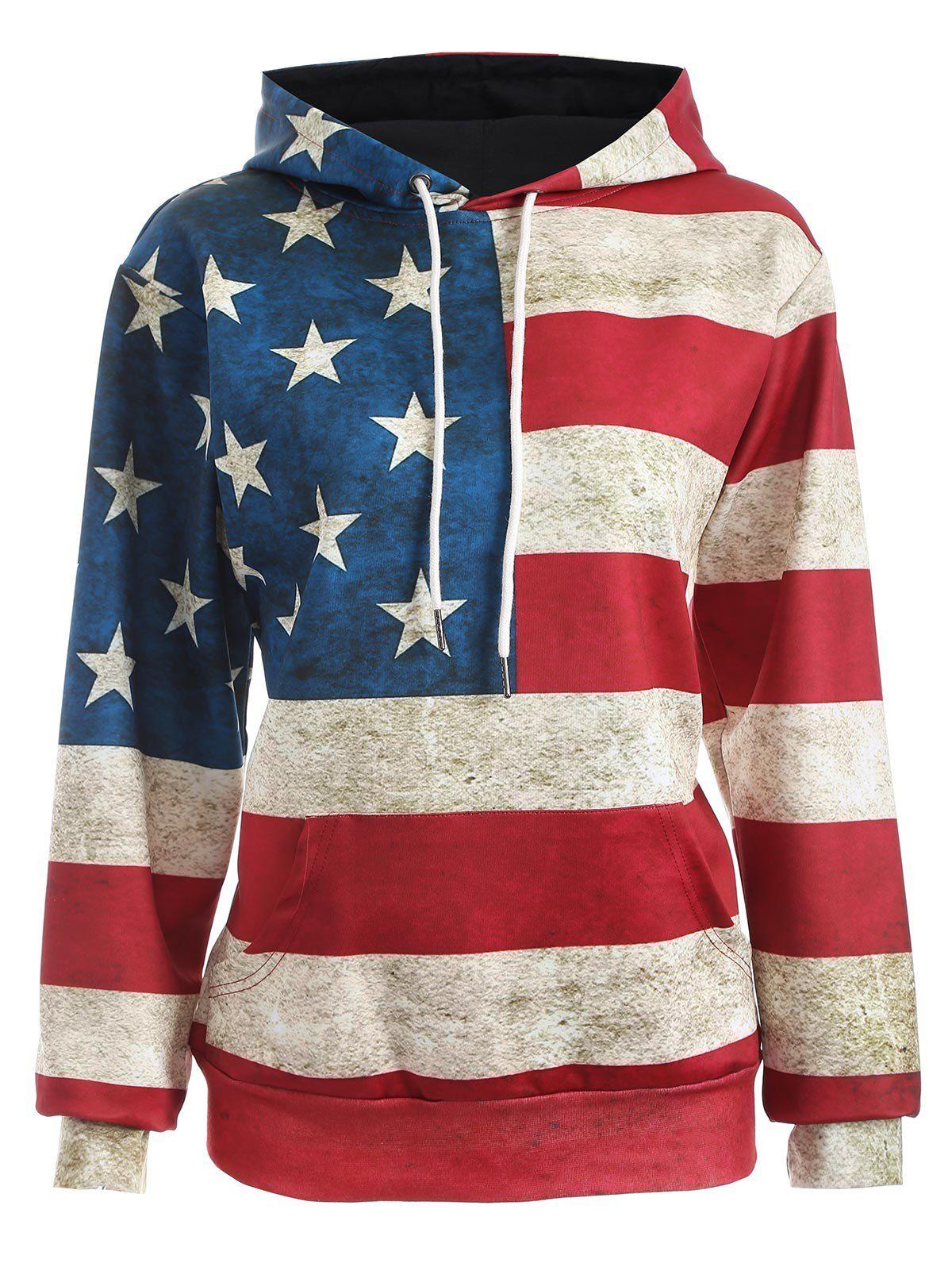 Pocket Design American Flag Print Hoodie
