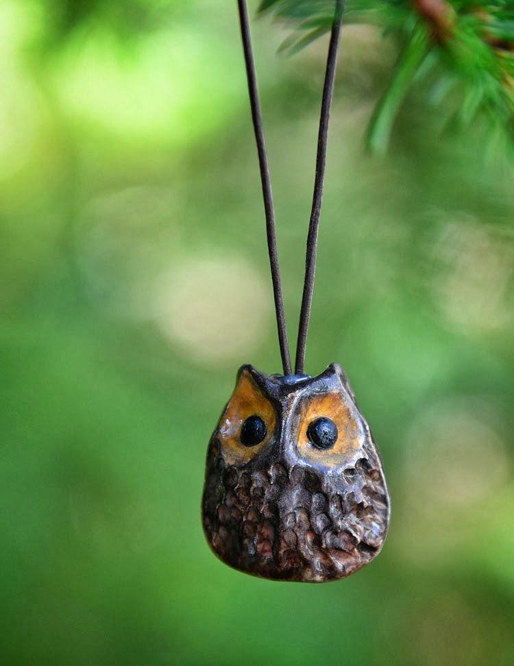 Tiny ceramic pottery owl Christmas ornament.