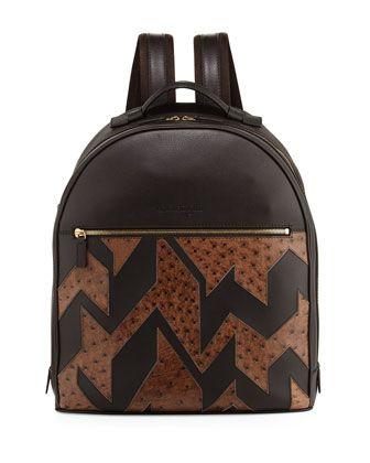 78b5d4ddf8f9 Men  s+Patchwork+Leather+ amp +Ostrich+Backpack