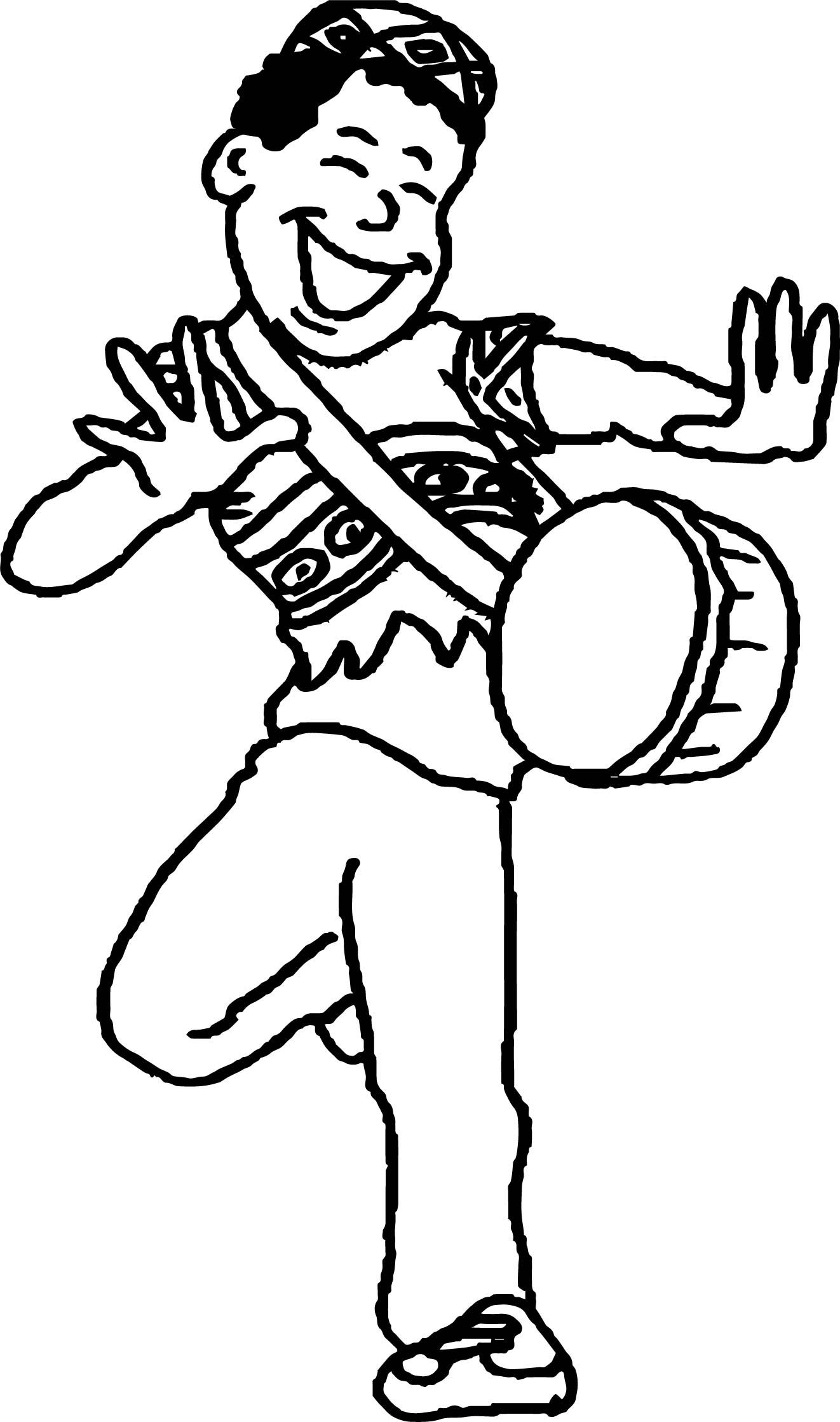 Nice African Man Dancing Coloring Page