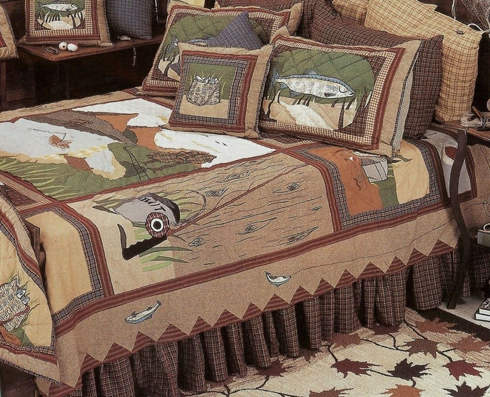 Gone Fishing Theme Quilt Bedding Collection Fishing Themed