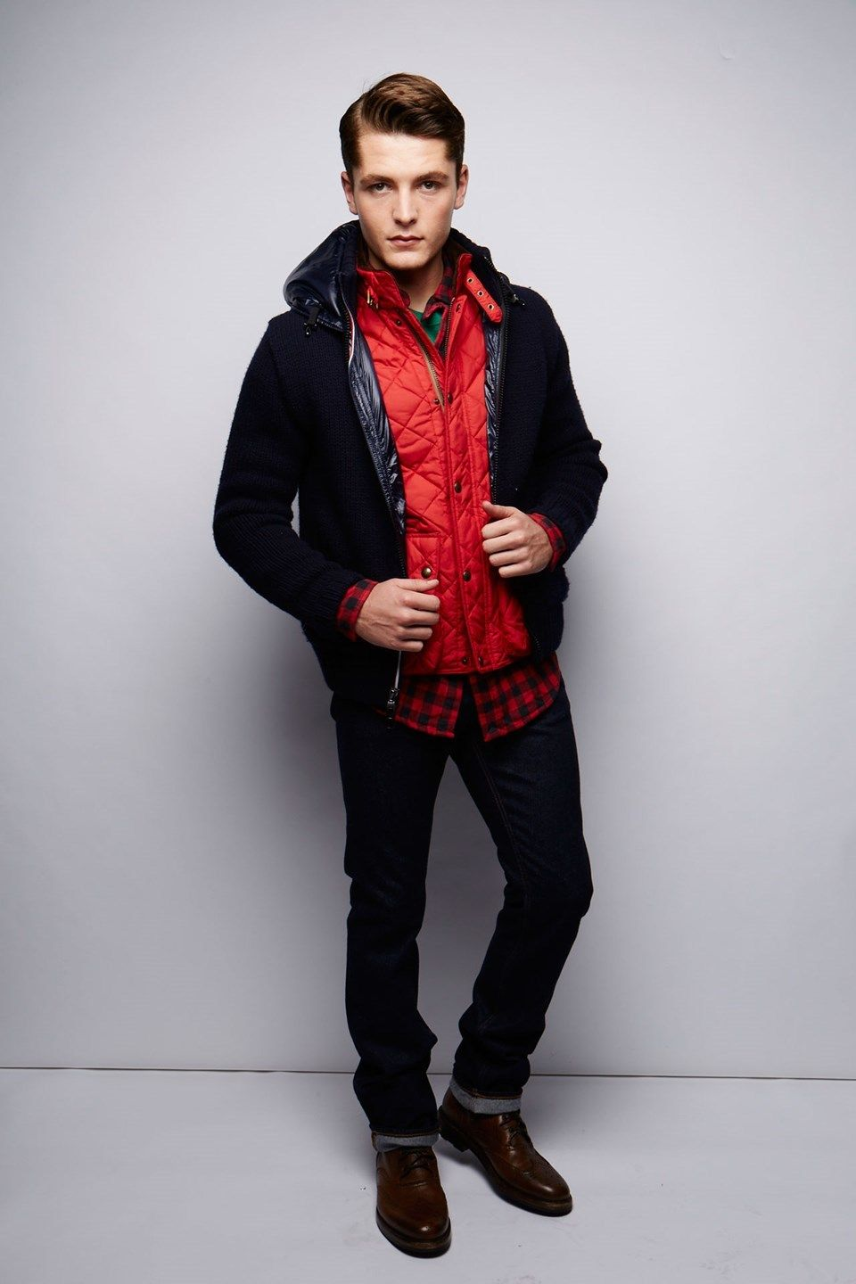 Men's Black Bomber Jacket, Red Quilted Gilet, Red and Black ...