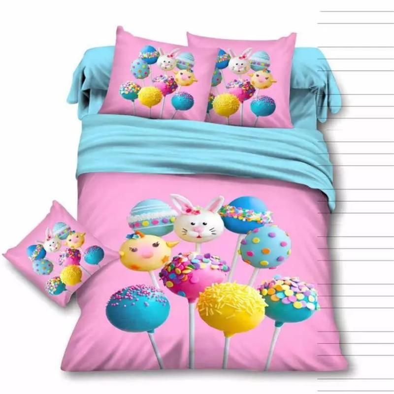 Colorful 3d Lollipop Pink Bedding Set Soft Comfortable Pure Cotton Printed Fabric  Bed Sheets Pillowcase Duvet