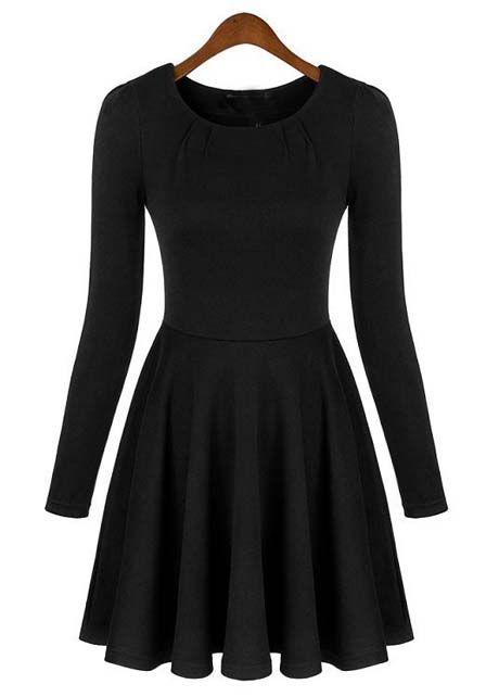 7848a45fbe3 A Line Long Sleeve Black Dress with Round Neck