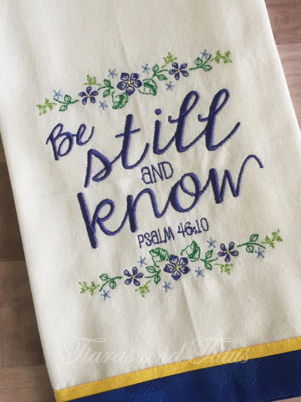 Embroidered Dish Towel Kitchen Towel Kitchen Decor Bible Verse Towel