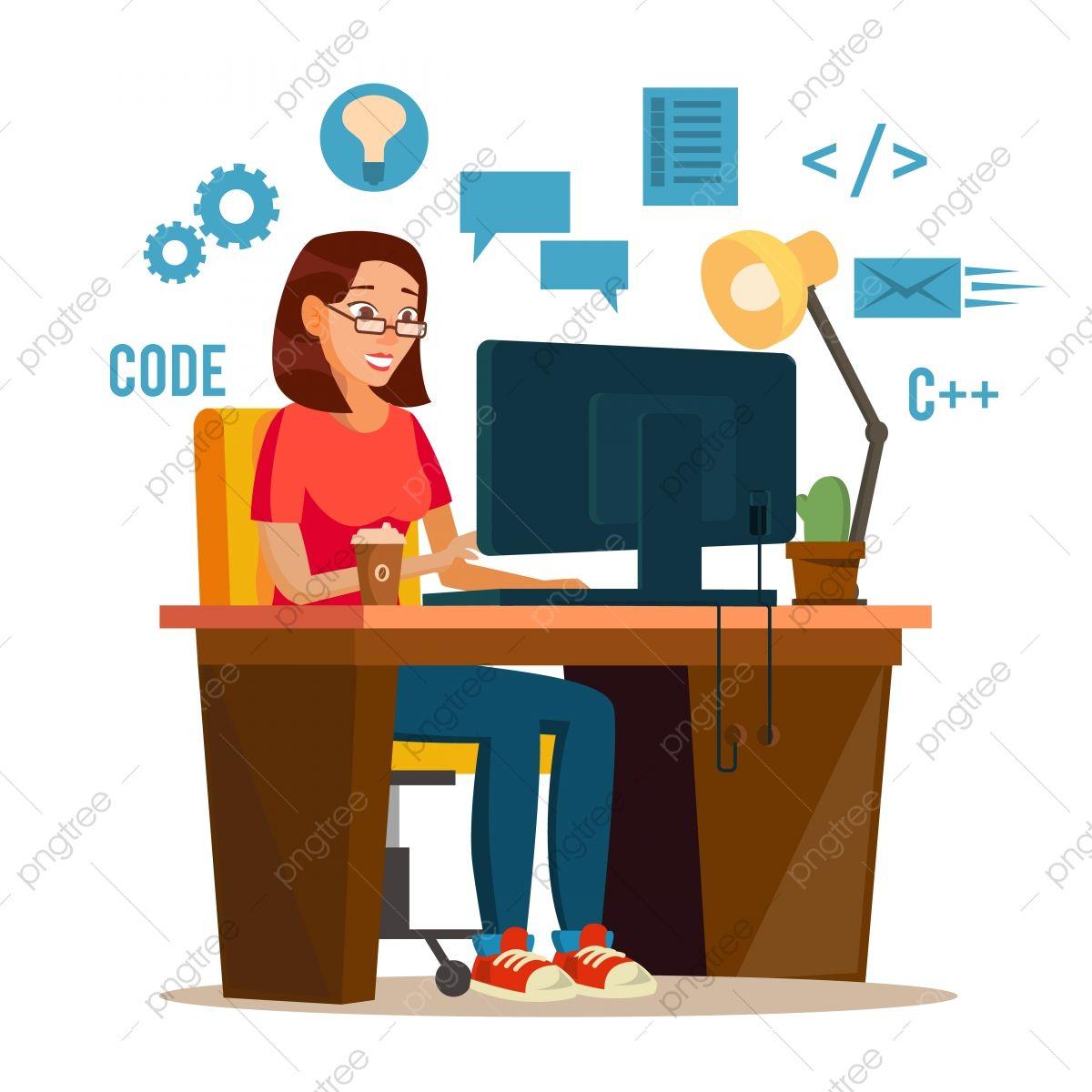 Programador Mujer Vector Programador Espacio De Trabajo Trabajando En Interne Dibujos Animados Personajes Personajes Ilustracion Dibujos De Personas Trabajando
