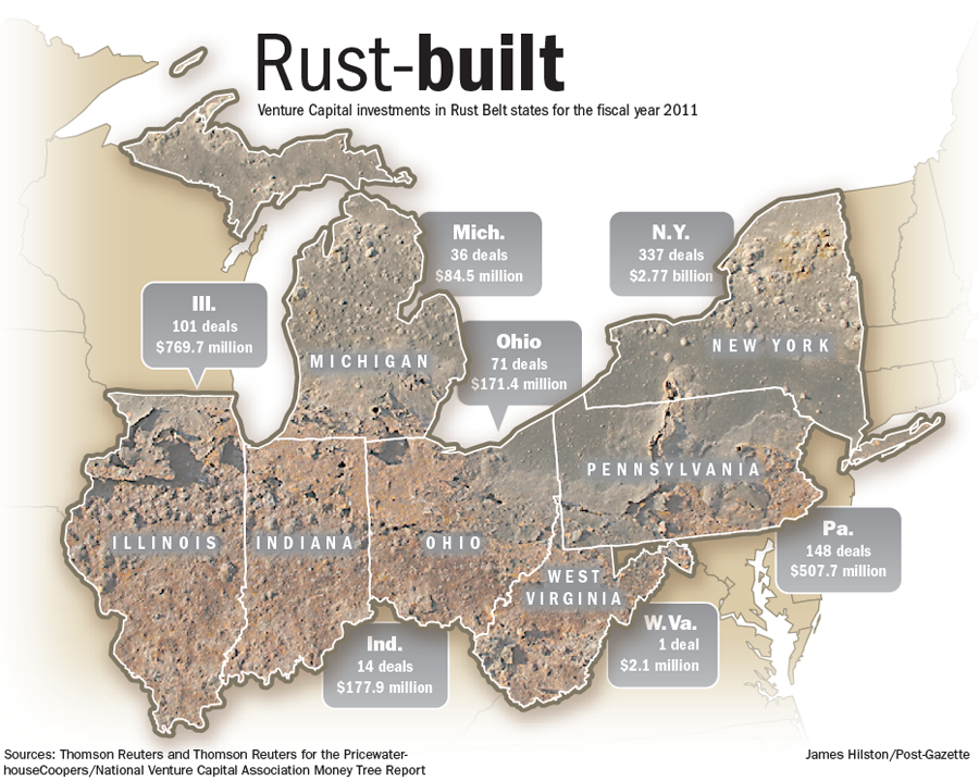 Rust Belt States Map.Pittsburgh Entrepreneurs Work To Make Rust Belt States Centers Of