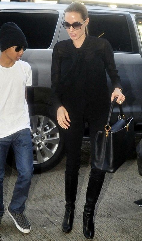 Angelina Jolie Wearing Saint Laurent Silk Georgette Bow