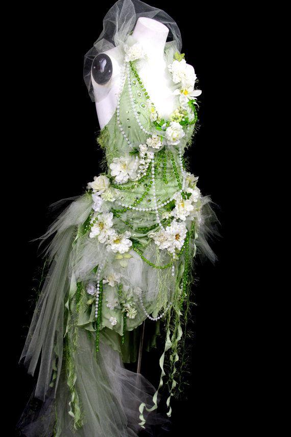 Spring Green, Woodland Flower Fairy Wedding Dress Gown, Bride ...