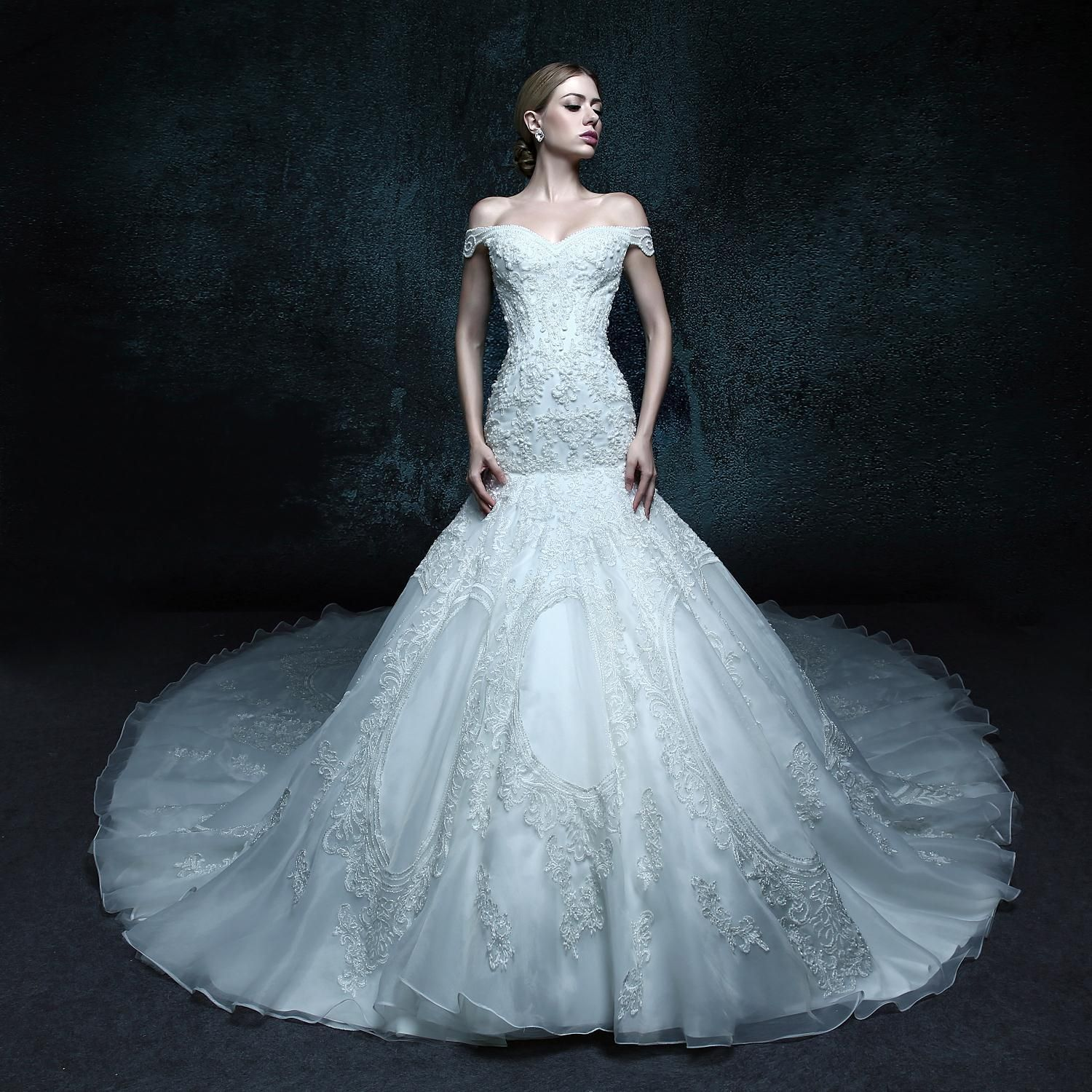2 (1).JPG副本 | Gorgeous Off Should Trumpet Wedding Dress from ...