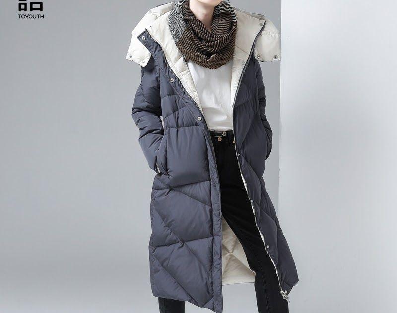 484e55e0de4 SALE Toyouth Winter Women Cotton Padded Long Jacket Gray Hooded Down  Jackets Female Luxury Outerwear Argyle