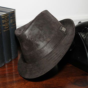 Camden leather trilby brown