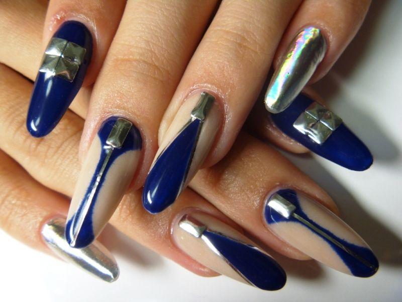 beige Navy & Minx Nail | Nails On Fleek | Pinterest | Diseños de ...