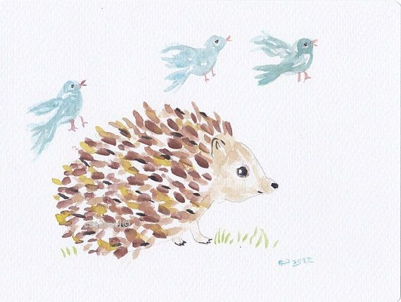 Hedgehog with Blue Birds ORIGINAL WATERCOLOR PAINTING by cat2owl