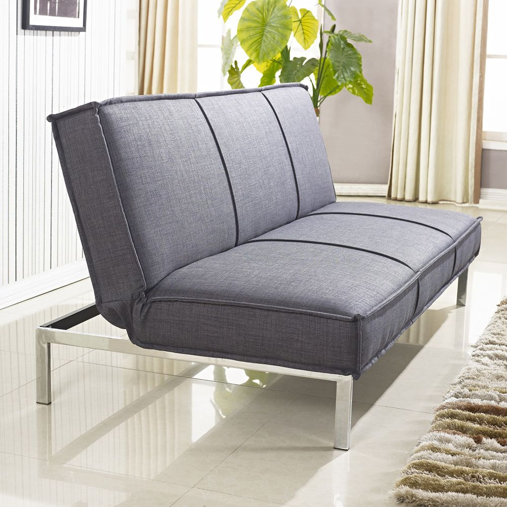 Vitoria 76 inch Charcoal Grey Sleeper Sofa Bed with French Seams
