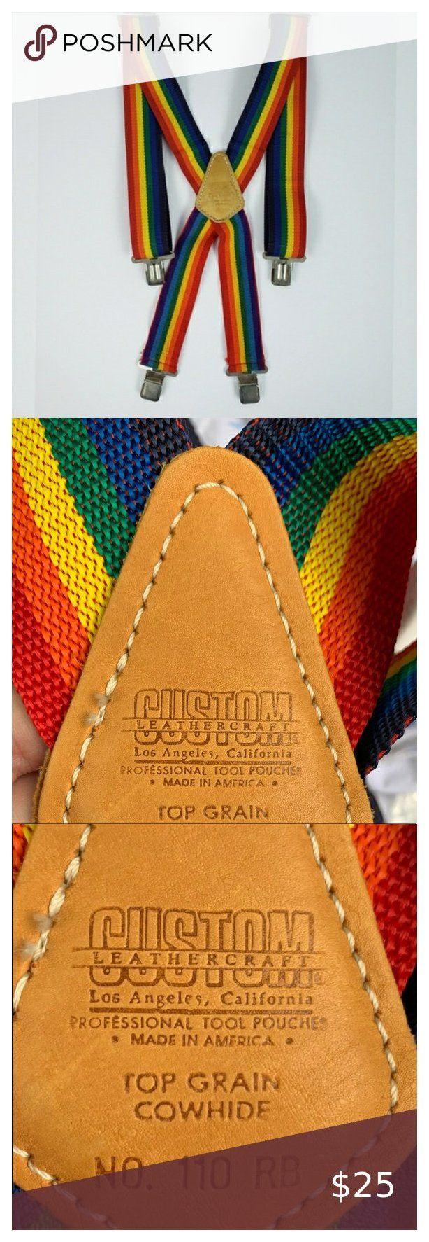 Custom LeatherCraft Suspenders Rainbow Suspenders Custom Leather Craft Suspenders Cowhide Top Grain Rainb #halloweencrafts
