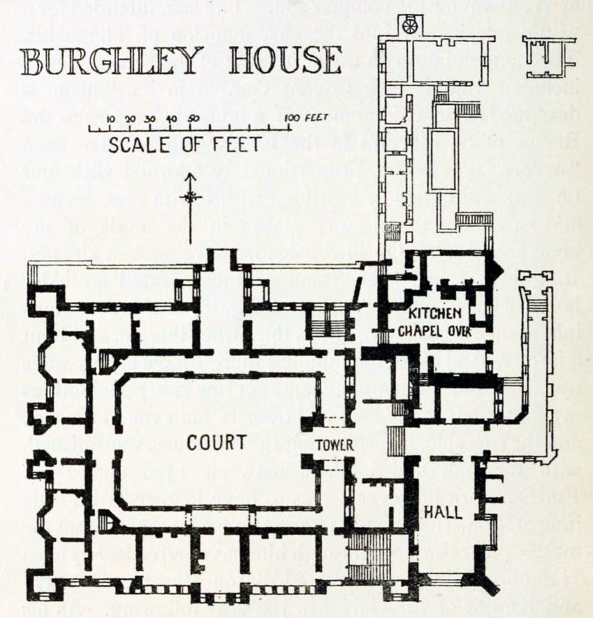 Floor Plan Of Burghley House, Lincolnshire, England, UK