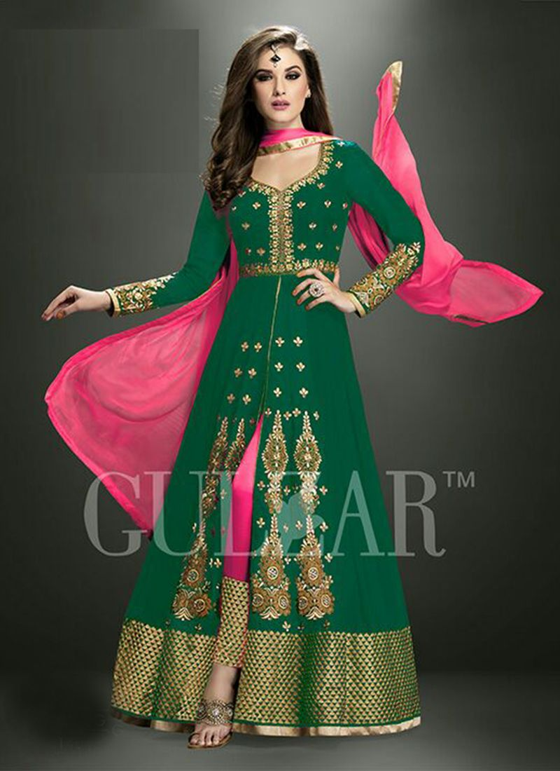 7732a7f797 Green Anarkali Suit Wholesale Collection Supplier From Surat | Sari ...